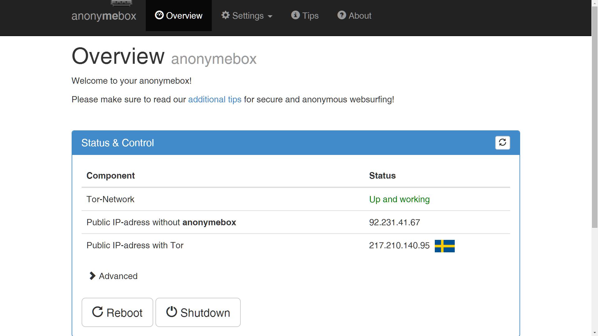 anonymebox anonymisierungslösung anonym surfen Hardware Webinterface