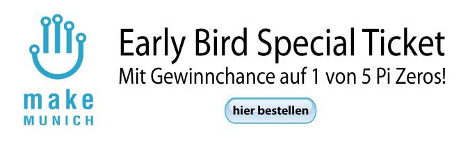 Make Munich Early Bird Ticket mit Gewinnchance auf einen von fünf Pi Zeros